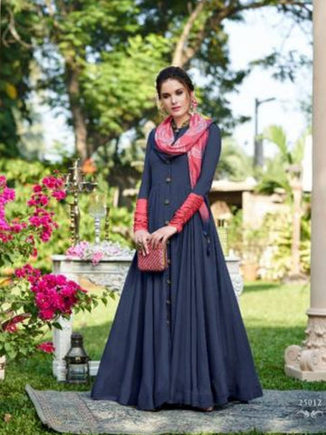 Exciting CHE25012 Indo Western Blue Silk Floor Length Gown - Fashion Nation
