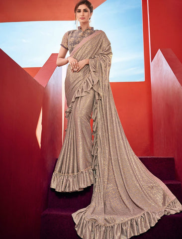 Evening Wear CR41004 Designer Grey Golden Silk Lycra Ruffles Saree by Fashion Nation