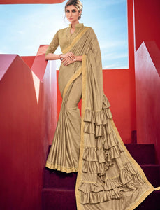 Curated CR41005 Designer Golden Silk Lycra Ruffled Saree by Fashion Nation