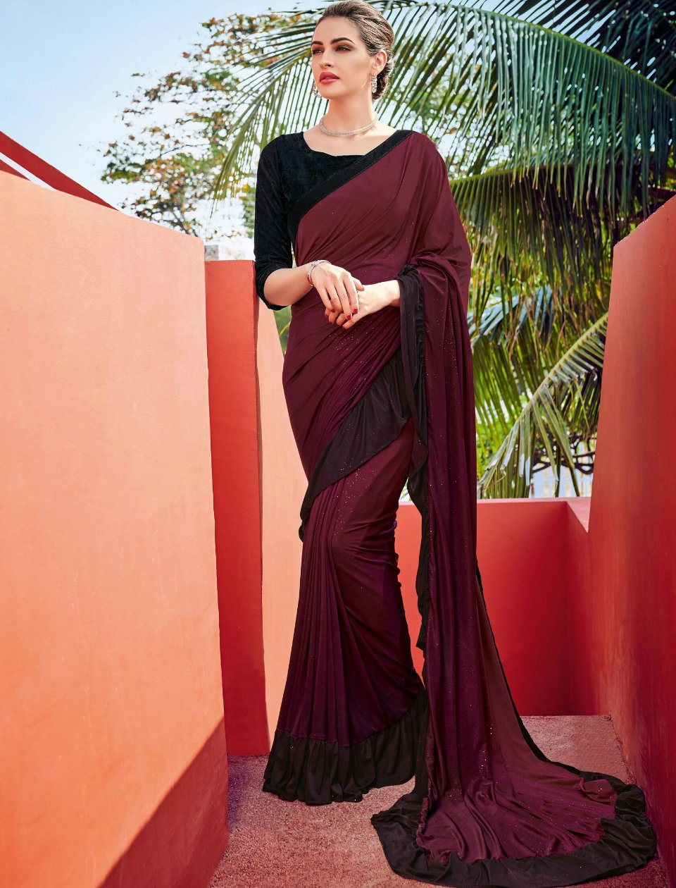 Gorgeous CR41006 Cocktail Purple Black Silk Lycra Ruffled Saree - Fashion Nation