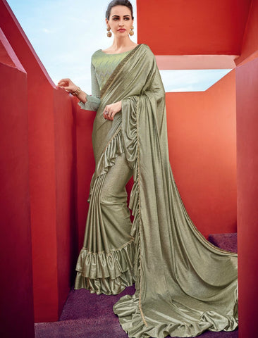 Handpicked CR41007 Party Wear Metallic Green Silk Lycra Ruffles Saree by Fashion Nation