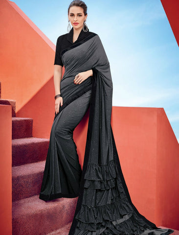 Sizzling CR41008 Cocktail Wear Shaded Black Grey Silk Lycra Frilled Saree by Fashion Nation
