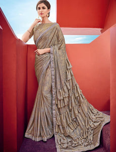Elegant CR41009 Party Wear Shaded Multicoloured Beige Silk Lycra Ruffled Saree by Fashion Nation