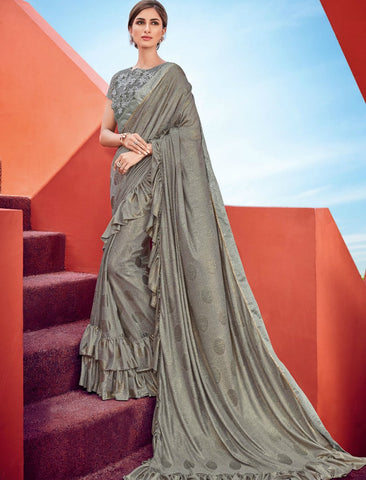 Impressive CR41010 Cocktail Wear Grey Silk Lycra Ruffles Saree by Fashion Nation