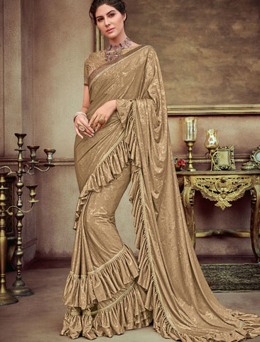 Cocktail Wear CR41400 Designer Golden Beige Silk Lycra Saree by Fashion Nation