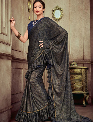 Party Wear CR41402 Marvellous Shaded Violet Golden Silk Lycra Saree by Fashion Nation
