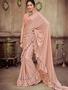 Designer CR41403 Gorgeous Peach Silk Lycra Saree by Fashion Nation