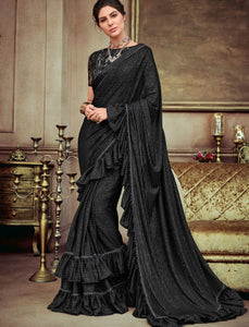 Party & Evening Wear CR41404  Vibrant Black Silk Lycra Ruffles Saree by Fashion Nation