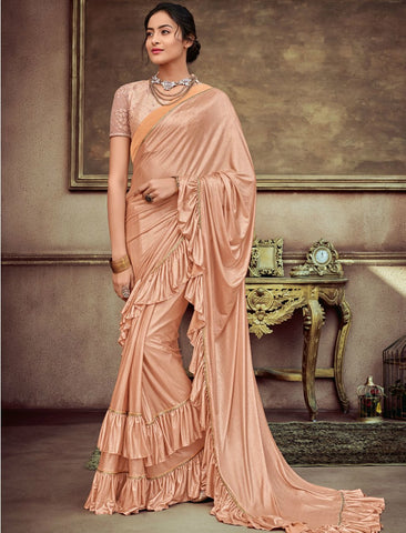 Party Wear CR41405 Designer Peach Silk Lycra Ruffles Saree by Fashion Nation