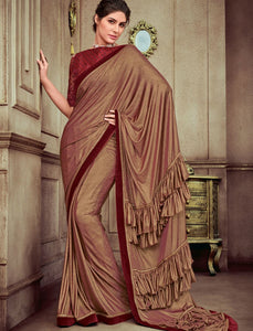 Cocktail Wear CR41406 Designer Beige Maroon Silk Lycra Ruffles Saree by Fashion Nation