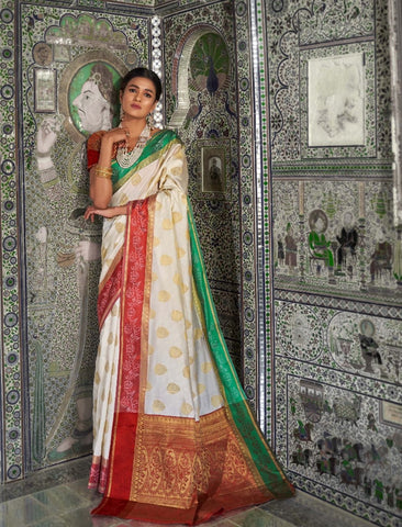 Classic RK58698 Weaving White Red Handloom Silk Saree - Fashion Nation