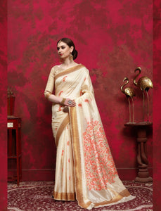 Designer RK68264 Weaving Cream Multicoloured Silk Saree - Fashion Nation