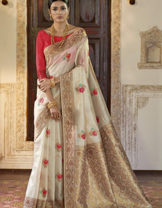 Fabulous RK71148 Weaving Off-White Silk Jacquard Saree by Fashion Nation