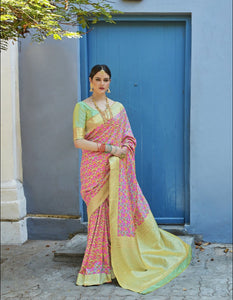 Gorgeous Weaving Pink Pista Green Silk Jacquard Saree by Fashion Nation