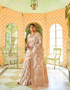Regal RK77909 Weaving Off-White Handloom Silk Jacquard Saree - Fashion Nation