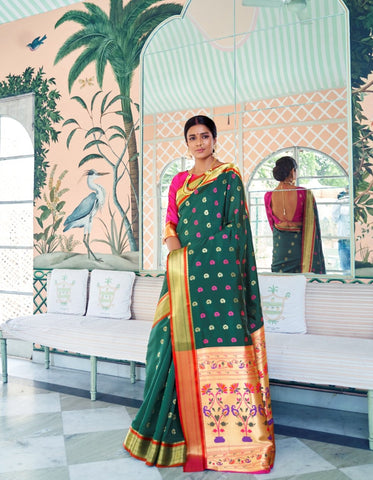 Classy RK78758 Weaving Green Pink Silk Paithani Saree - Fashion Nation