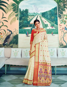 Finest RK78759 Weaving Off-White Red Paithani Silk Saree by Fashion Nation