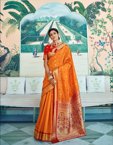 Vibrant RK78760 Weaving Orange Red Paithani Silk Saree by Fashion Nation