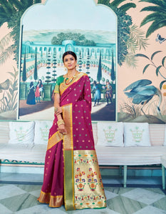 Colourful RK78762 Weaving Violet Green Paithani Silk Saree - Fashion Nation