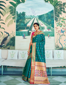 Splendid RK78763 Weaving Sea Green Red Paithani Silk Saree - Fashion Nation