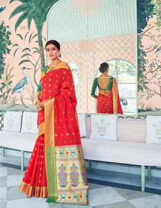 Festive RK78764 Weaving Green Red Paithani Silk Saree by Fashion Nation