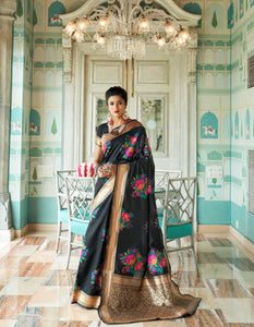 Party Wear RK80133 Weaving Black Banarasi Silk Jacquard Saree - Fashion Nation