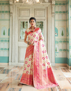 Suave RK80134 Weaving Off-White Pink Banarasi Silk Jacquard Saree - Fashion Nation