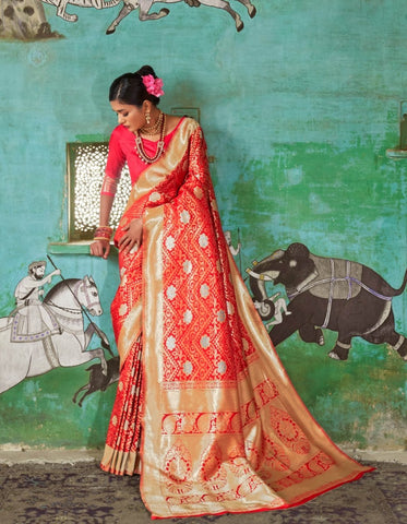 Bridal RK81118 Red Minakari Handloom Weaving Silk Saree - Fashion Nation