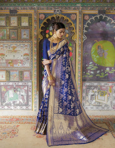 Wedding Wear RK81123 Royal Blue Minakari Handloom Weaving Silk Saree - Fashion Nation