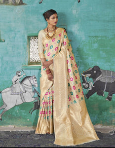 Wedding Wear RK81125 Off-White Minakari Handloom Weaving Silk Saree - Fashion Nation