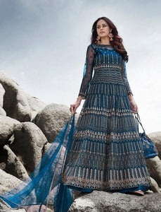Engagement Special Blue Net Indo Western Front Slit Gown with Pants by Fashion Nation
