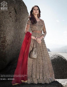 Exclusive Beige Net Silk Indo Western Gown with Potli Bag by Fashion Nation