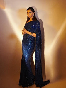 Deepika Padukone RSdeepika Bollywood Inspired Blue Silk Georgette Saree - Fashion Nation.in