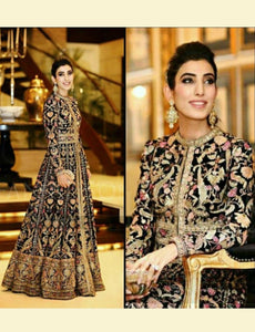 Fashionable SF6132 Bollywood Inspired Black Multicoloured Silk Anarkali Gown by Fashion Nation