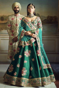 Designer H826 Bollywood Inspired Teal Green Silk Net Lehenga Choli by Fashion Nation
