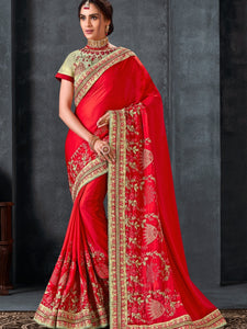 Afternoon Party Wear Red Silk Saree with Blouse - Fashion Nation