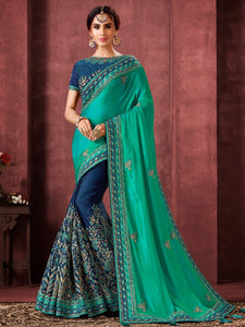 Shaadi Functions Wear Half Blue Half Aqua Silk Stylish Saree - Fashion Nation