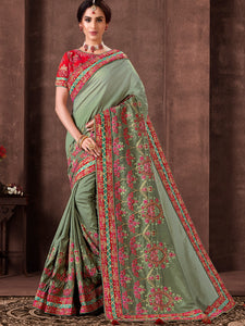 Evening Reception Party Wear Green Silk Saree with Red Blouse - Fashion Nation