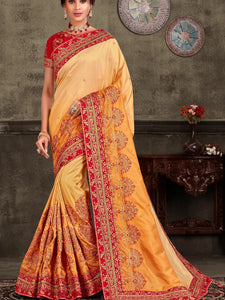 Mehndi Function Wear Shaded Yellow Silk Saree with Red Blouse - Fashion Nation