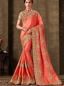 Marriage Function Wear Peach Silk Saree with Golden Blouse - Fashion Nation