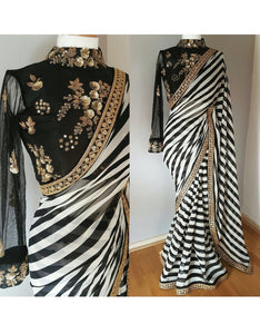 HIR01 Bollywood Inspired Black White Georgette Silk Saree
