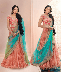 Bridal NAK5085 Multicoloured Peach Pink Net Lehenga Saree - Fashion Nation