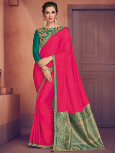 All Occasion Pink Silk Jacquard Designer Saree with Blouse by Fashion Nation