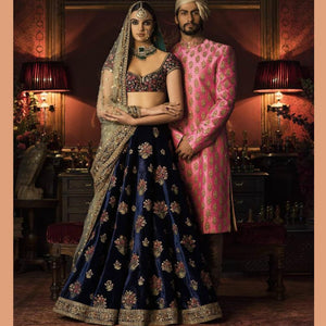 Designer JN02 Wedding Wear Navy Blue Cream Satin Silk Net Lehenga Choli by Fashion Nation