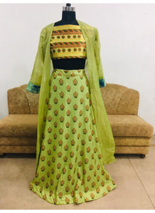 KF3518 Madhuri Dixit Bollywood Inspired Green Yellow Silk Lehenga Choli with Koti - Fashion Nation