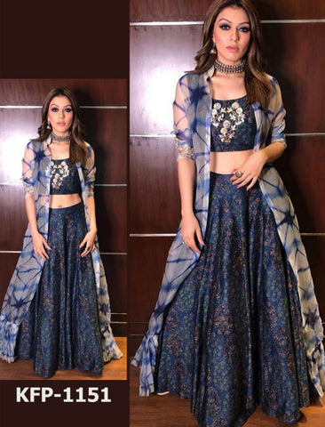 KF3555 Hansika Motwani Bollywood Inspired Blue Grey Silk Lehenga Choli with Koti - Fashion Nation
