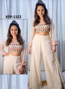 Nushrat Bharucha KF3581 Bollywood Inspired Cream White Silk Palazzo Suit with Jacket - Fashion Nation