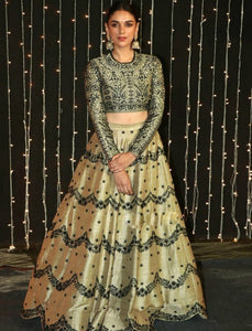 KF3602 Aditi Rao Bollywood Inspired Cream Multicoloured Silk Lehenga Choli - Fashion Nation.in