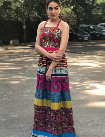 Sara Ali Khan KF3627 Bollywood Inspired Multicoloured Long Dress Gown - Fashion Nation