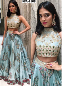 KF3653 Bollywood Inspired Blue Silk Lehenga Choli - Fashion Nation
